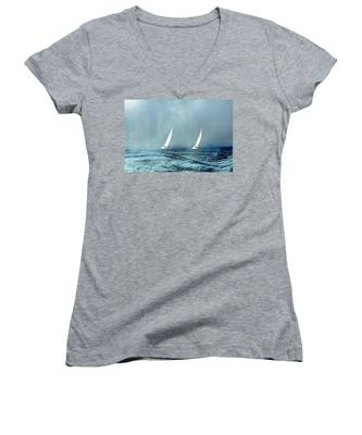 Sailing Into The Unknown Women's V-Neck