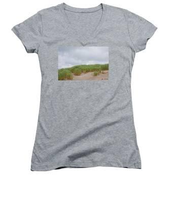 Sand Dunes And Grass Women's V-Neck
