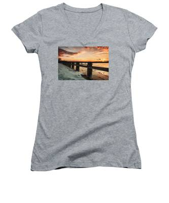 Snowy Sunset In Northport New York Women's V-Neck