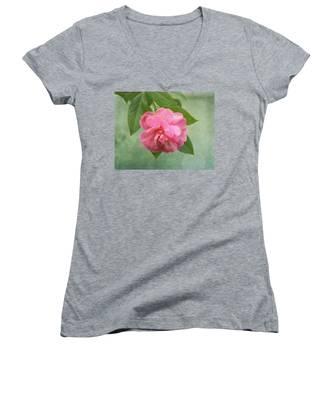 Southern Camellia Flower Women's V-Neck