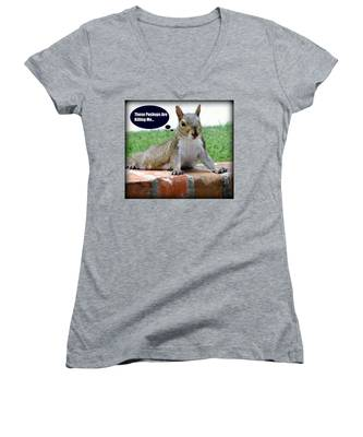 Squirrely Push Ups Women's V-Neck