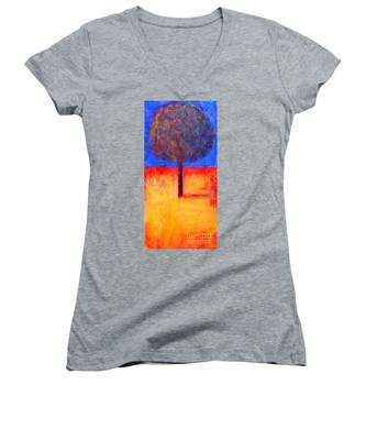 The Lonely Tree In Autumn Women's V-Neck
