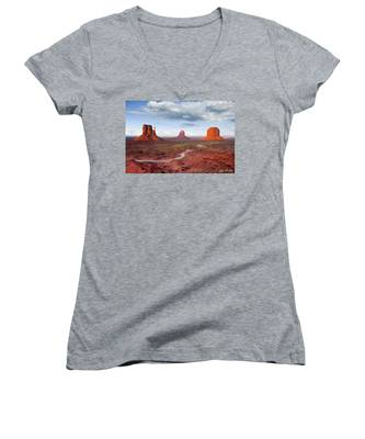 The Mittens And Merrick Butte At Sunset Women's V-Neck