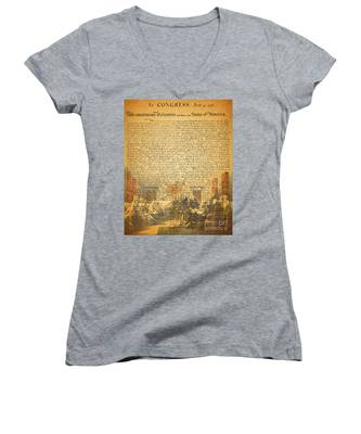 The Signing Of The United States Declaration Of Independence Women's V-Neck