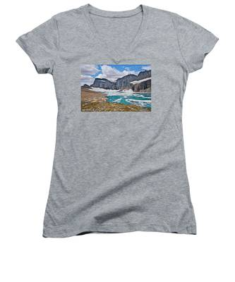 Upper Grinnell Lake And Glacier Women's V-Neck