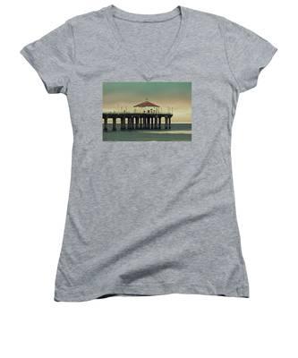 Vintage Manhattan Beach Pier Women's V-Neck