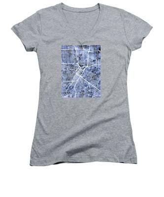 Houston Texas City Street Map Women's V-Neck
