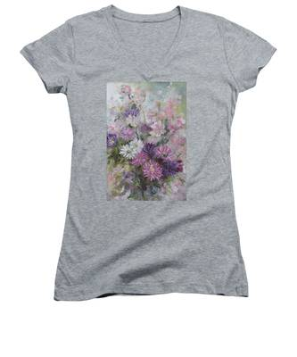 Asters And Stocks Women's V-Neck