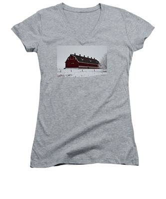 Big Red Barn In The Winter Women's V-Neck