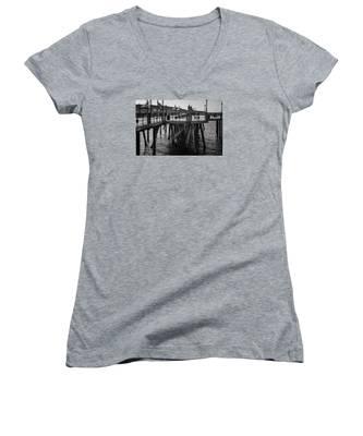 Black And White On The Pier Women's V-Neck
