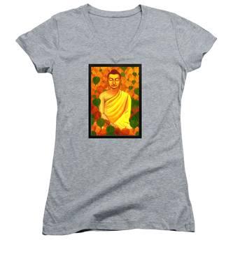 Buddha In Green Leaves Women's V-Neck