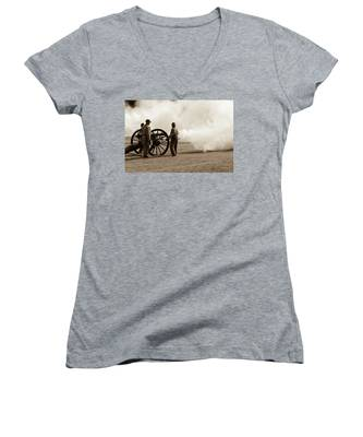 Civil War Era Cannon Firing  Women's V-Neck