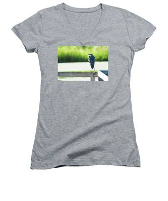 Early Morning Great Blue Heron Women's V-Neck
