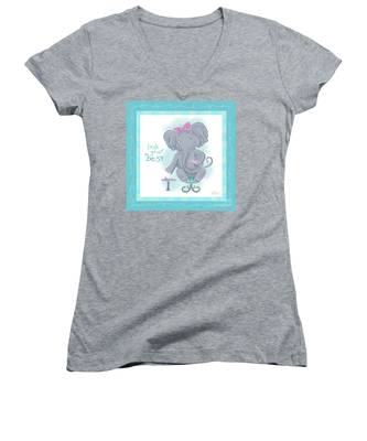 Elephant Bath Time Look Your Best Women's V-Neck