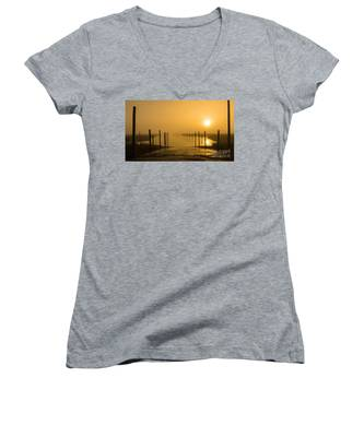 Golden Fog On The Nissequogue Women's V-Neck