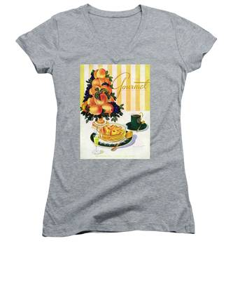 Gourmet Cover Featuring A Centerpiece Of Peaches Women's V-Neck