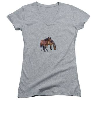 Horses In A Misty Dawn Women's V-Neck