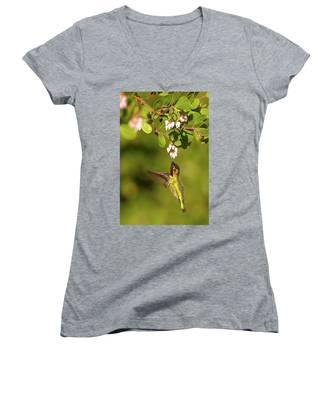 Hummingbird And Manzanita Blossom Women's V-Neck