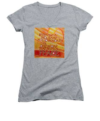 Inspirational Saying Peace Women's V-Neck