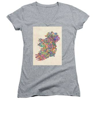 Ireland Eire City Text Map Derry Version Women's V-Neck