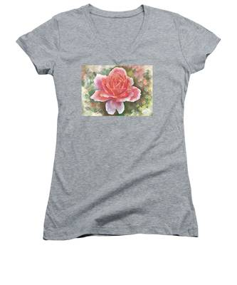 Just Joey Rose From The Acrylic Painting Women's V-Neck