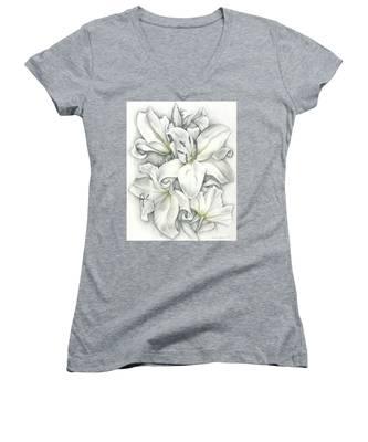 Lilies Pencil Women's V-Neck