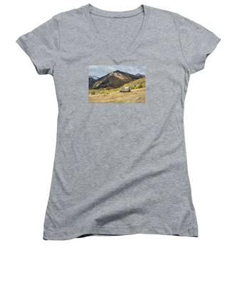 Log Barn In The Mountains Women's V-Neck