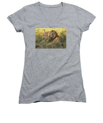 Male And Female Lion Women's V-Neck