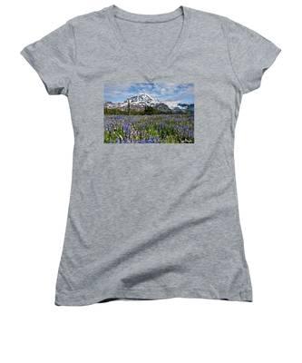 Meadow Of Lupine Near Mount Rainier Women's V-Neck
