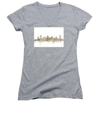 Nashville Tennessee Skyline Sheet Music Women's V-Neck