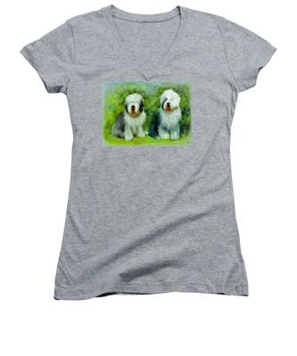 Old English Sheepdog Women's V-Neck