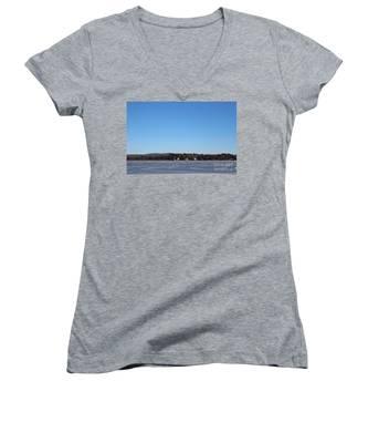Poconos, The Lake In January Women's V-Neck