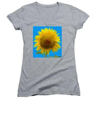 Portrait Of A Sunflower Women's V-Neck