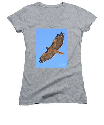 Red Tailed Hawk In Flight Women's V-Neck