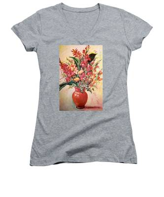 Red Vase Women's V-Neck