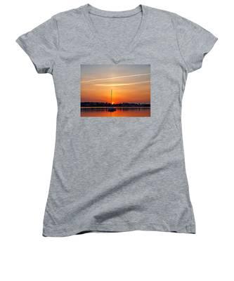 Summer Sunset At Anchor Women's V-Neck