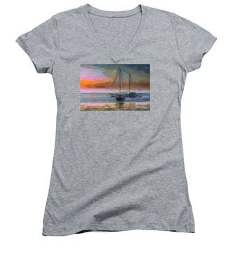 Sunrise With Boats Women's V-Neck