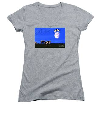 The Cow Jumped Over The Moon Women's V-Neck