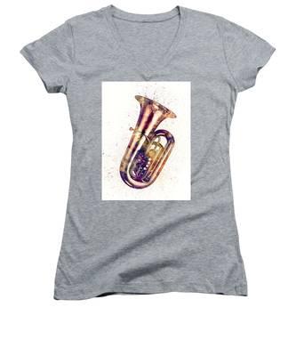 Tuba Abstract Watercolor Women's V-Neck