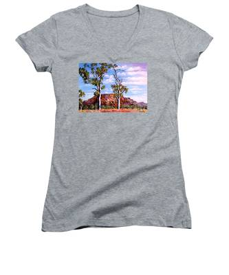 Twin Ghost Gums Of Central Australia Women's V-Neck