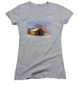 Valley Forge Cabin At Sunset Women's V-Neck