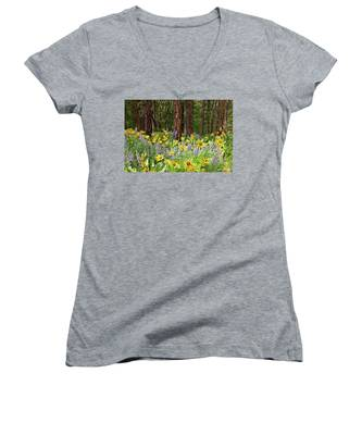 Balsamroot And Lupine In A Ponderosa Pine Forest Women's V-Neck