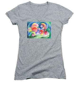 Abstract Bubbles Watercolor Women's V-Neck