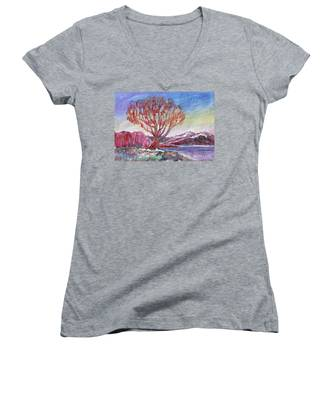 Autumn Tree By The River Women's V-Neck