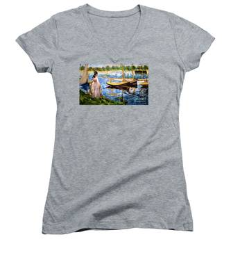 Banks Of The Seine At Argenteuil Women's V-Neck