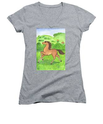 Foal In The Meadow Women's V-Neck