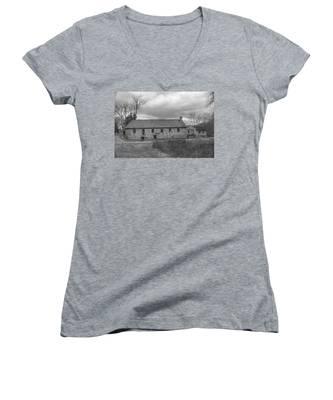 Grey Skies Over Fieldstone - Waterloo Village Women's V-Neck