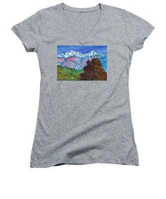 Blooming Tree On A Background Of Snowy Mountains Women's V-Neck