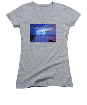 Lightning On The Sea At Night Women's V-Neck