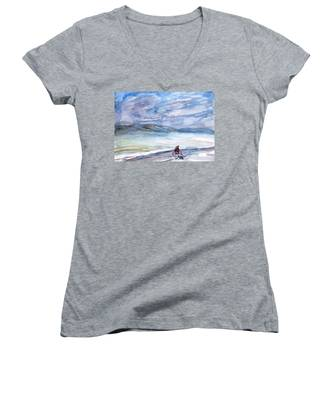 Morning Bike Ride Women's V-Neck